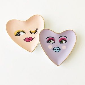 Paper Source Heart Face Ceramic Trinket Dish Set